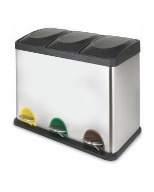 Cubo Pedal Ecológico Triple Cromado Habitex