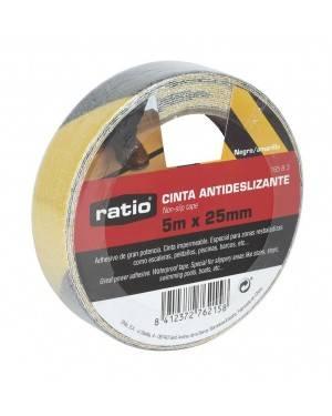 Cinta Antideslizante 25 Mm X5M Negro/Amarillo Ratio