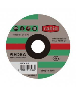 Disco Corte Fino Piedra 115X1,6 Mm Ratio