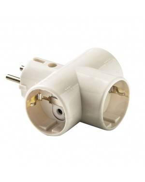 Adaptador Triple Toma Tierra Cerámica 10A-250V Duolec