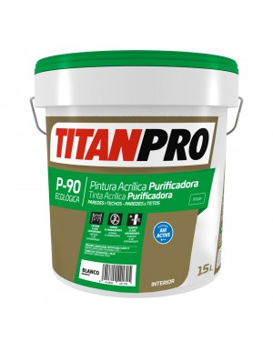 Titan Pro Pintura acrílica purificadora P90 Blanco mate 15L Titan Pro