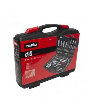 RATIO Tool Case 95 Pieces 1 / 4-1 / 2 Chr-V Ratio