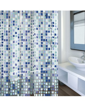 HABITEX Pvc Bathroom Curtain 180X200 Cm Concept Blue