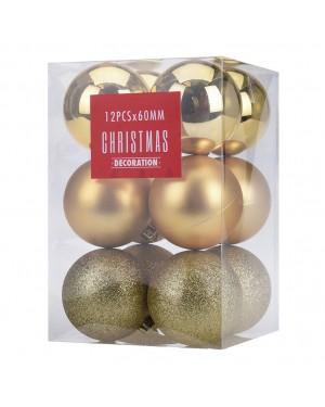 HABITEX Set of 12 Golden Christmas balls