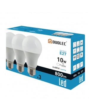 DUOLEC Pack 3 lâmpadas led 10W 6400K luz fria