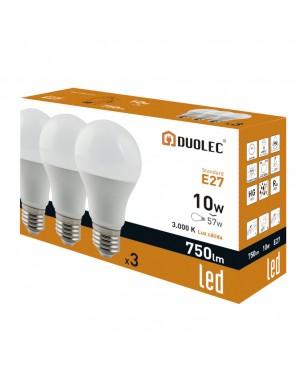 DUOLEC Pack 3 Led Bulbs 10W 3000K Warm Light