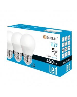 DUOLEC Pack 3 lâmpadas miniglobo LED 5W 6400K luz fria