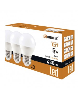 DUOLEC Pack 3 lâmpadas miniglobo LED 5W 3000K luz quente