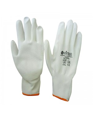 Glove world White polyester + pu gloves Ferrule