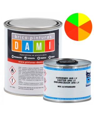 Brico-Paints Dami Monostrato Carrozzeria High Glossy UHS 2K Fluorescente 1L