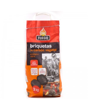 Ok Fuego Charcoal briquettes for barbecues 3kgs.