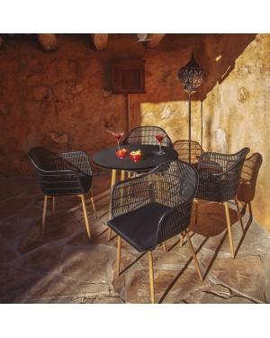 CADENA88 Conjunto de 4 sillas resina + mesa DECORA