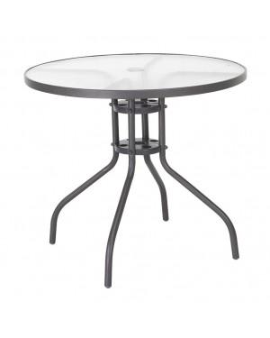 CADENA88 Table ronde en acier-verre 80xh.71 cm. DE BASE