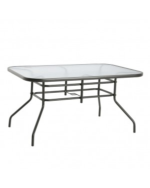 CADENA88 Rectangular steel-glass table 142x90xh.71 cm. BASIC