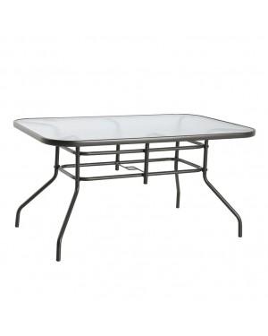 CADENA88 Table rectangulaire en acier-verre 142x90xh.71 cm. DE BASE