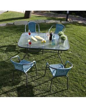 CADENA88 Conjunto mesa rectangular + 4 sillas azul BASIC