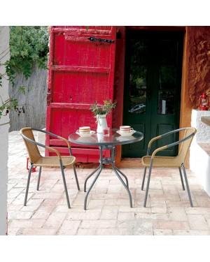CADENA88 Ensemble table ronde + 2 chaises marron BASIC