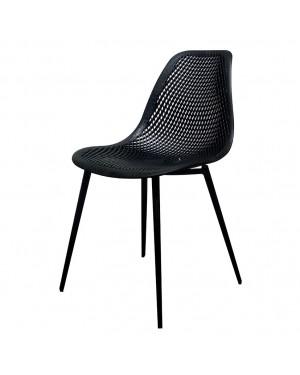 CADENA88 4 Chaises noires en acier-plastique DUBLÍN