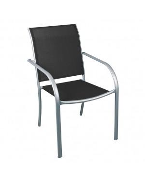 CADENA88 Chaise en acier argenté noir BRÉSIL