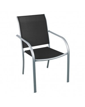 CADENA88 Silla de acero plata-negro BRASIL