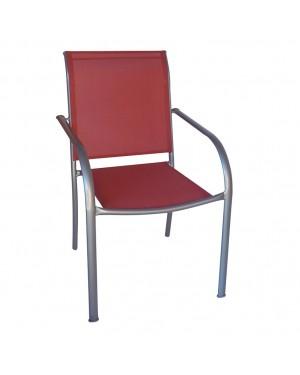 CADENA88 Chaise en acier argenté terre cuite BRÉSIL