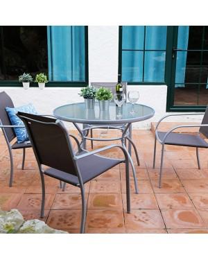 CADENA88 Conjunto mesa acero-cristal + 4 sillas BRASIL