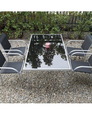 CADENA88 Conjunto mesa rectangular acero-cristal + 4 sillas BRASIL