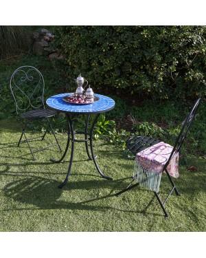 CADENA88 Conjunto Mesa Superficie cerámica + 2 sillas plegables MOSAICO