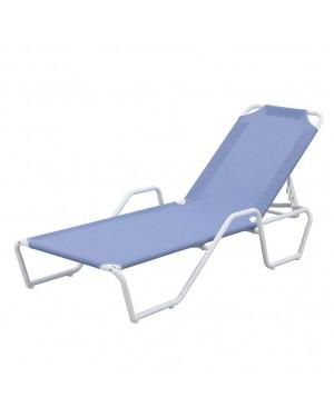 CADENA88 Bain de soleil en tube d'acier / bleu textilène inclinable