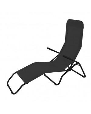 CADENA88 Black reclining steel-textilene folding sunbed