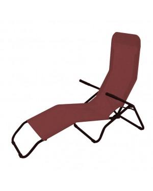 CADENA88 Lettino prendisole pieghevole in acciaio-textilene reclinabile terracotta