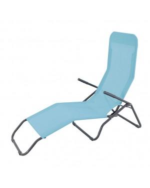 CADENA88 Bain de soleil pliant inclinable en acier-textilène bleu