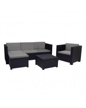 CADENA88 Set Sofa + 2 armchairs + puff + low table MANHATTAN