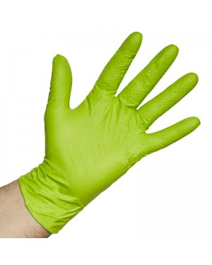 Mundo guante Caja 50 guantes Nitrilo Diamantado Caiman Verde