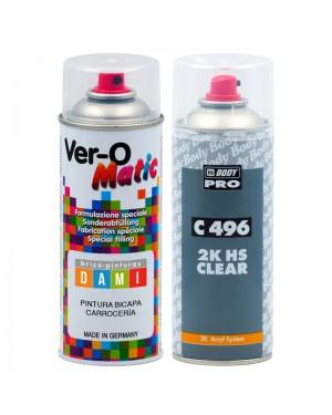 Brico-peintures Dami Kit Spray Carrosserie Bi-Couche Toutes Marques + Vernis 2K