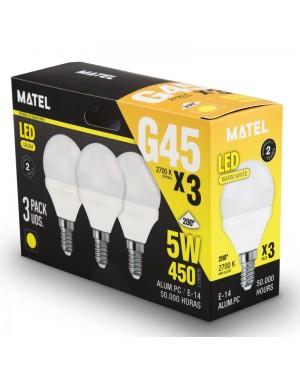 Alfa Dyser Spherical LED Bulb Pack 3 units. E14 5W Warm Light Matel