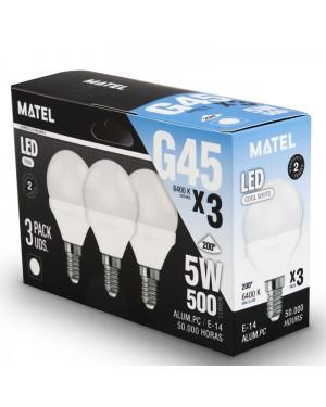 Alfa Dyser Spherical LED Bulb Pack 3 units. E14 5W Cold Light Matel