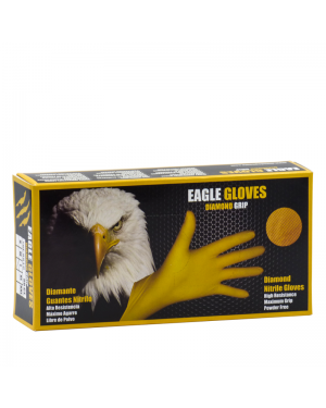 Glove World Box 50 Gloves Nitrile Diamond Cut Eagle Size L Yellow