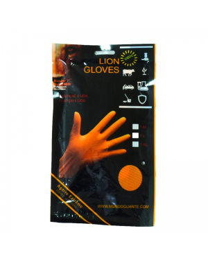 Glove Glove Blister 6 Gloves Nitrile Diamantado Lion Orange