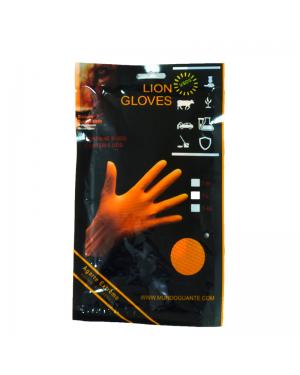 Mundo guante Blister 6 guantes Nitrilo Diamantado Lion Naranja